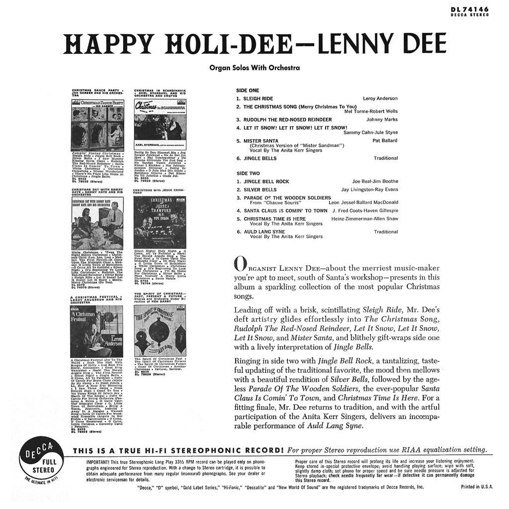 Lenny Dee - Happy Holi-Dee