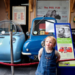 Bobbie next to the famous 'Pet' cars
