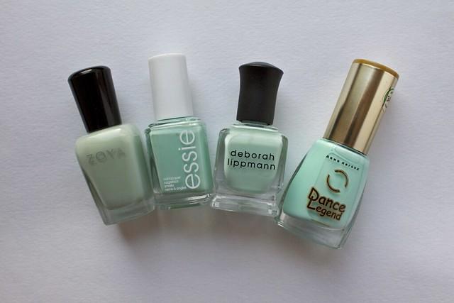 13 Deborah Lippmann Flowers In Her Hair comparison Zoya Neely, Essie Mint Candy Apple, Dance Legend 345