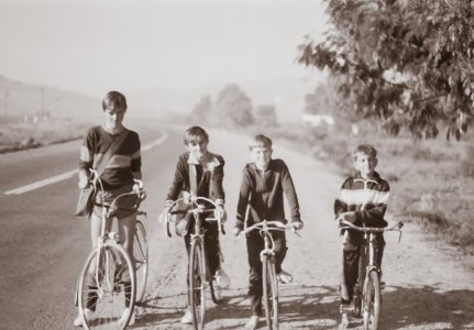 All four boys on our bikes