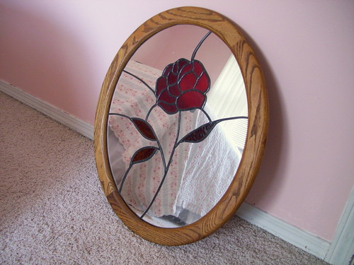 Stained Glass Rose Mirror