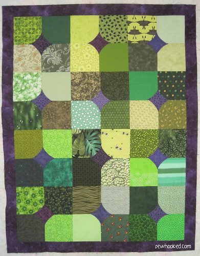 10 Minute Block Green & Purple Quilt