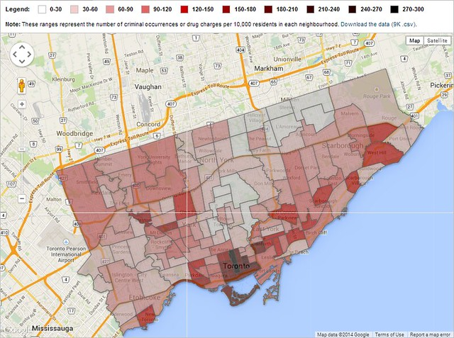 toronto crime downtown map population accuracy