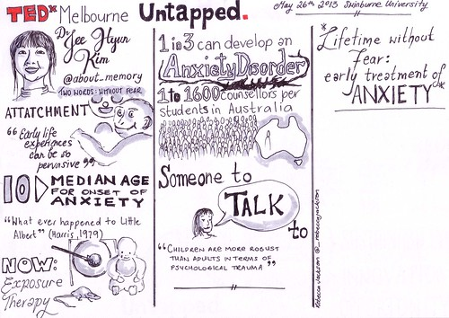 My sketchnote of Dr Jee Hyun Kim Lifetime without fear early treatment of anxiety
