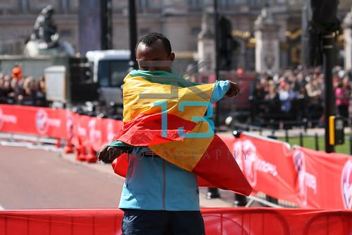 Winners presentation ceremony at the Virgin London Marathon.