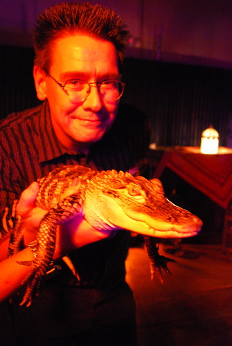 Paul with baby alligator