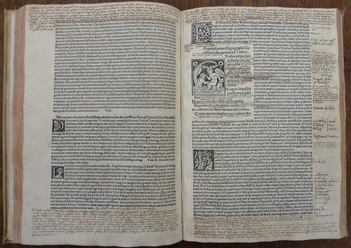 Leaves o4v and p1r of an incunable copy of the Elegiae of Tibullus and Propertius and the Carmina of Catullus (Venice: Johannes Tacuinus de Tridino, 19 May 1500; ISTC it00374000), with woodcut initials and contemporary ms. annotations in brown ink by Penn Provenance Project
