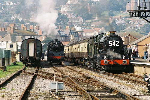 80072 Standard 4MT & GWR 6024 'King Edward I', Minehead, March 2012
