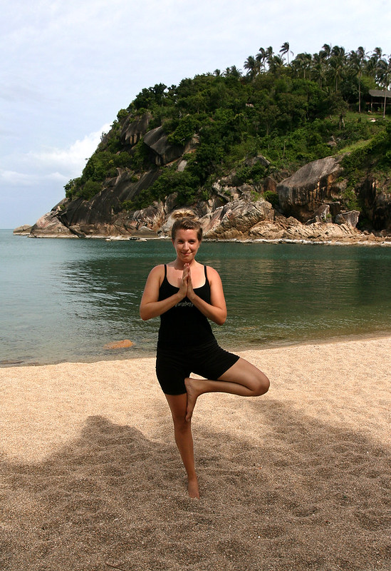 Vrksasana (tree pose) with anjali mudra