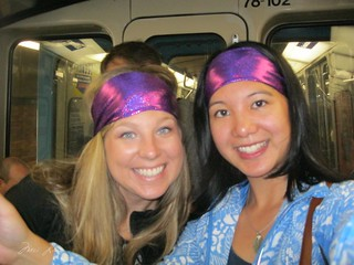 Kristen and Mei with matching sparkly purple headbands