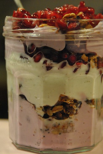 homemade granola with pomegranate seeds, vanilla and blueberry fruyo