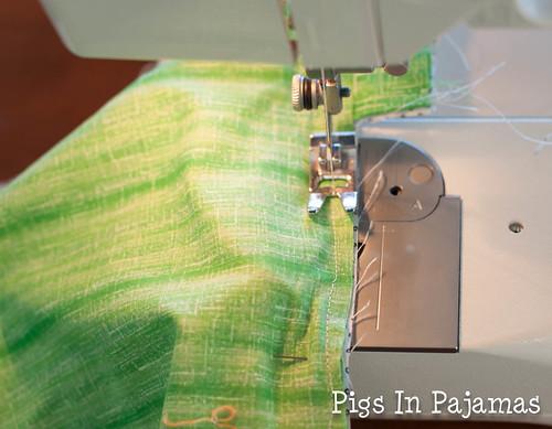 Green ditty bag zipper sewing
