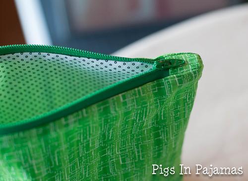 Green ditty bag corner detail