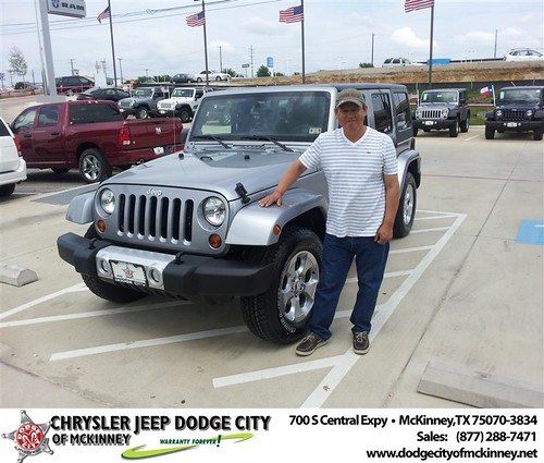 Dodge City of McKinney would like to say Congratulations to Nicolas Zamarron on the 2013 Jeep Wrangler from Brent Villarreal by Dodge City McKinney Texas