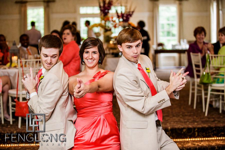 Bridesmaid and groomsmen enters reception