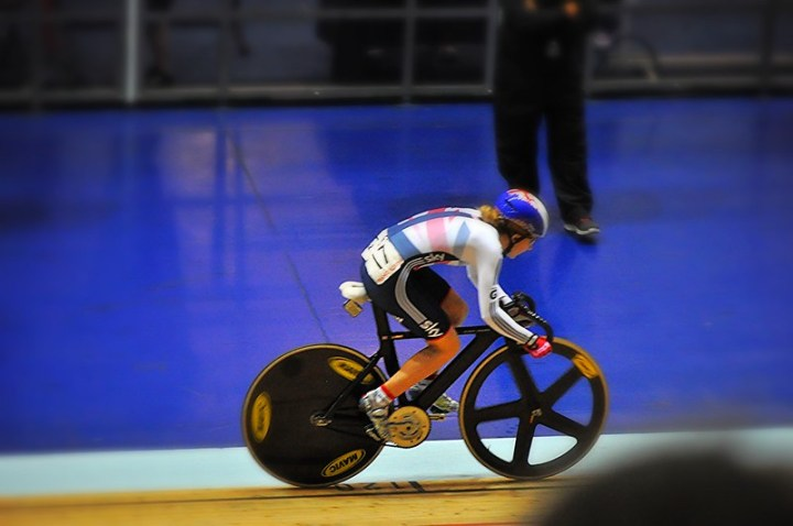 Laura Trott wins the Omnium at UCI World Cup at Manchester Velodrome