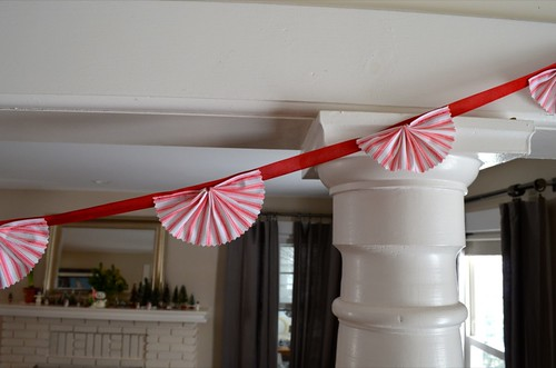 Red ticking stripe garland