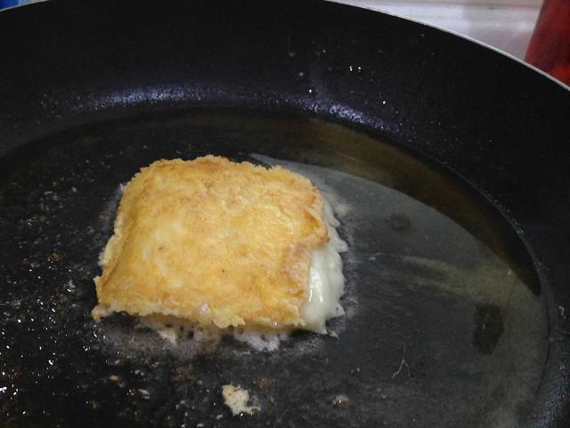 Chris makes fried cheese - YUM!