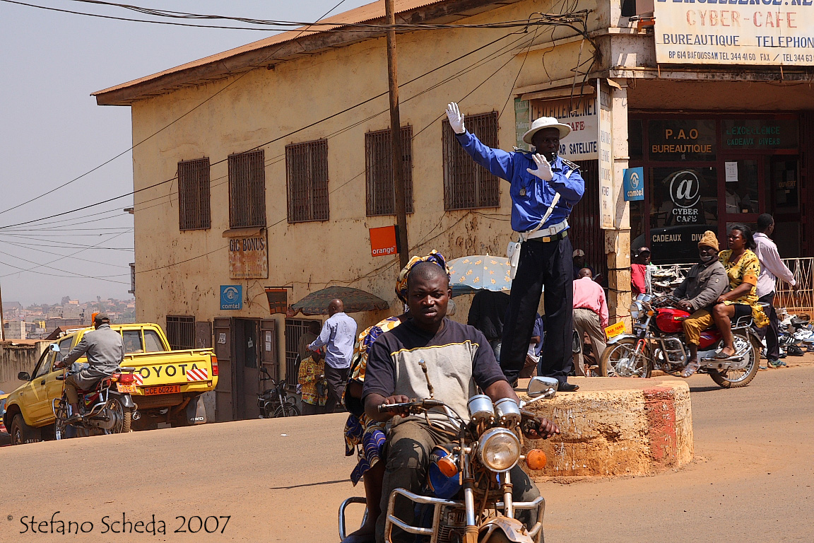 Directing traffic - Bafoussam, Cameroon