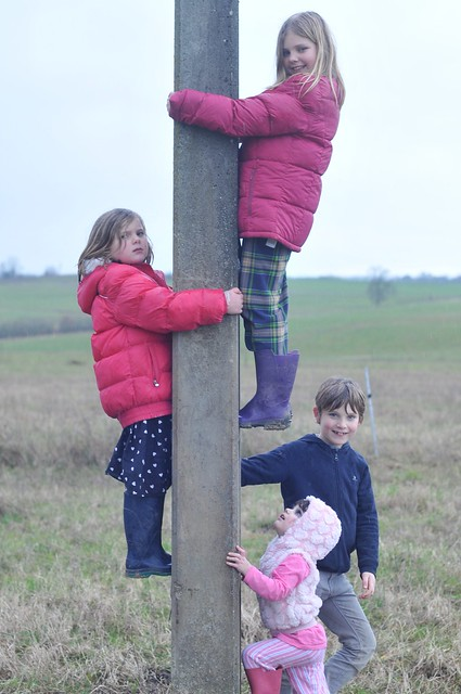 kids on a pole