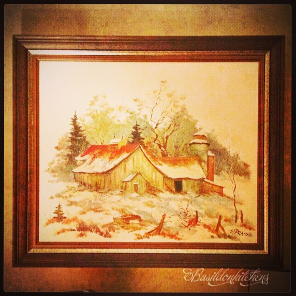 Sep 9 - on the wall {one of my favourite paintings} #fmsphotoaday #titlefx #pranke #art #oilpainting #barn #winter