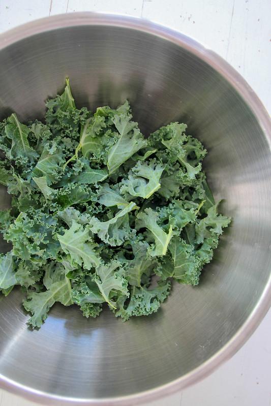 torn kale leaves