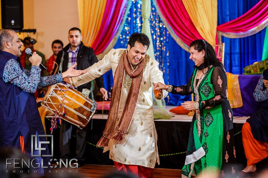 Choreographed dancing during Ismaili Indian wedding Sangeet