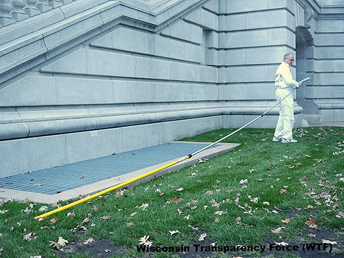 Wisconsin Transparency Force (WTF) pole for washing Scott Walker's windows at WI Capitol building