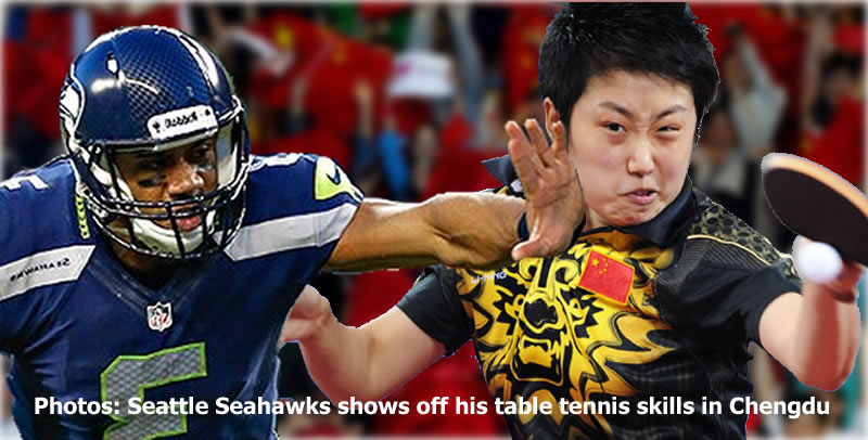Photos: Seattle Seahawks shows off his table tennis skills in Chengdu