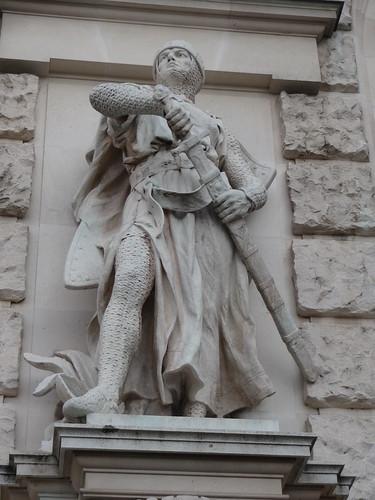Wien, 1. Bezirk, Art of Facades of Vienna (Hofburg), Neue Burg - (1881-1913 built by Gottfried Semper, Karl Hasenauer, Emil Förster, Friedrich Ohmann and Ludwig Baumann) - Viktor Tilgner - Crusader