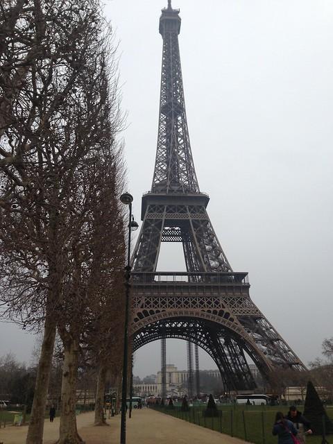 Paris - the Eiffel Tower under a grey sky, 2013