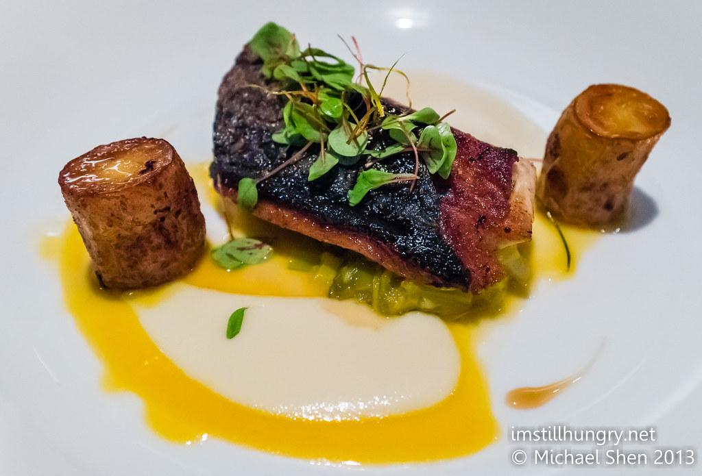 Foveaux Bonito, prawn braised leeks, fondant potatoes, kohlrabi puree & white wine reduction