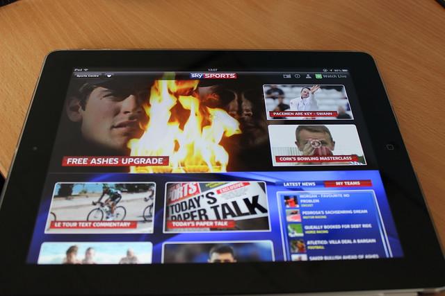 Sky Sports on an iPad