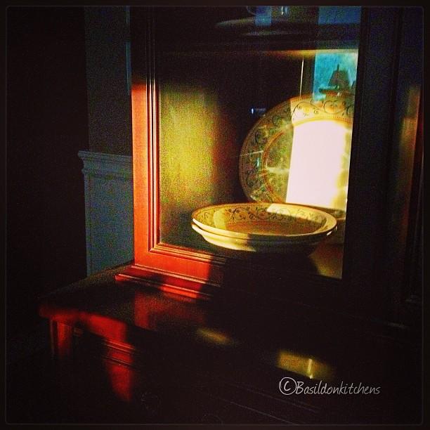 Aug 15 - shine {early morning sun is shining on my buffet} #photoaday #shine #sunrise #dishes #morning