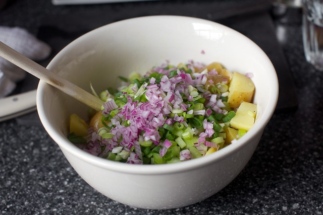 potatoes, scallions, celery, red onion