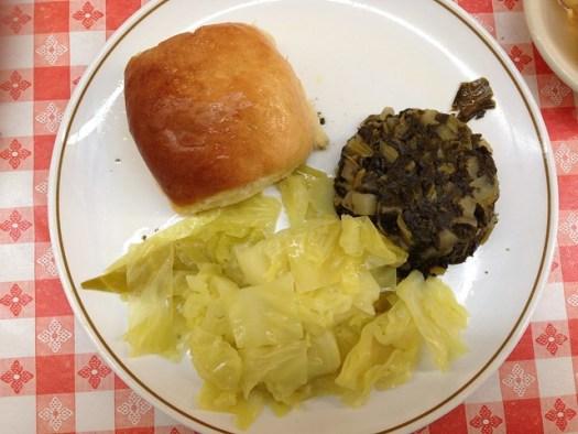 Cabbage, Greens, Roll at Matthews Cafeteria, Tucker GA