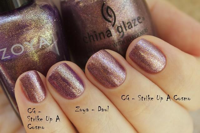 05 China Glaze Autumn Nights compare Strike Up A Cosmo vs Zoya Daul copy