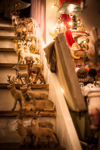 Christmas Deer Herd on the Stairs