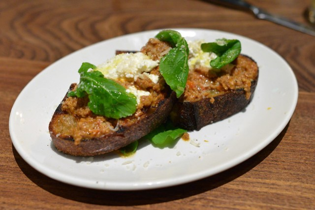 Grilled Bread, Nine Hour Bolognese, Arugula and Ricotta