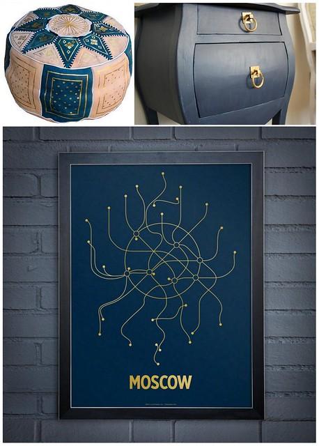 Navy Gold Decor Collage