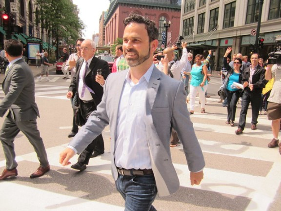 Gabe Klein walks across the first pedestrian scramble. Photo: John Greenfield.