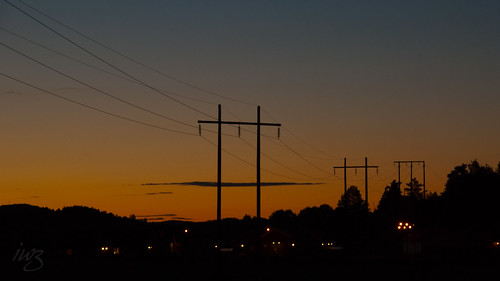 Power Lines At Night