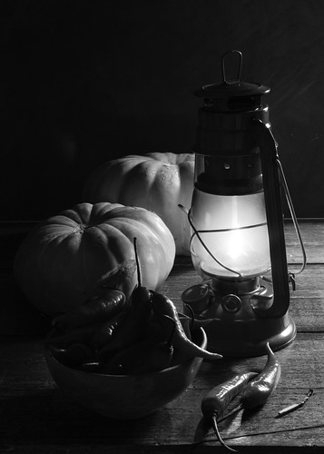 pumpkins and chilli (bw-2) by Luiz L.