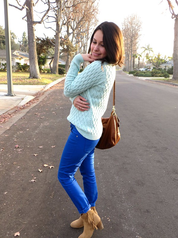 Gold Polka Dots - Colorblocking mint and blue 2
