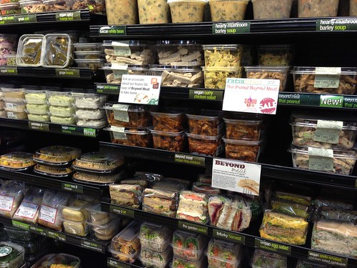 Many Beyond Meat products in plastic containers.