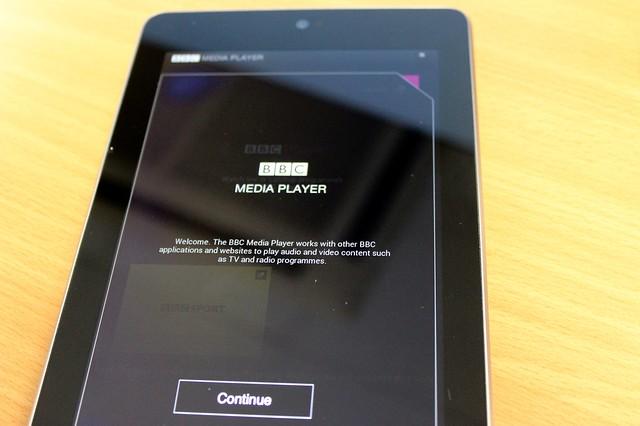 BBC Media Player on a Nexus 7