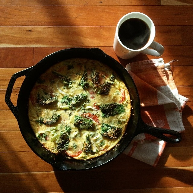 Hubby is sick, which means I actually have to cook for once. Today's brunch: sweet potato frittata with whatever random veggies + herbs we had sitting in the fridge. #brunch #onthetable #vegetarian #frittata #nofilter