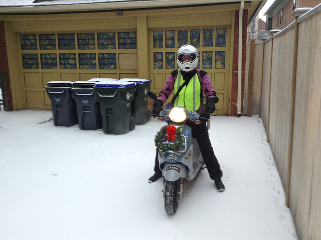 Getting ready to ride out, hi-viz absolutely necessary in the snow