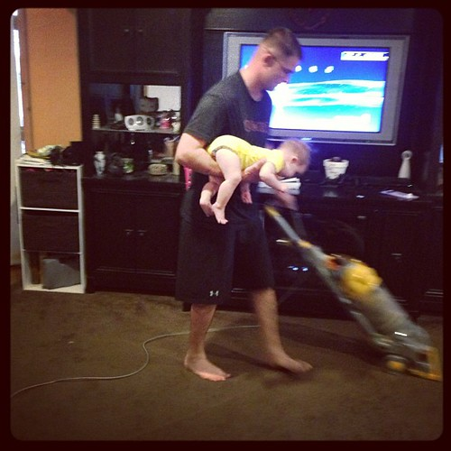 How to vacuum with a baby. #parenting101
