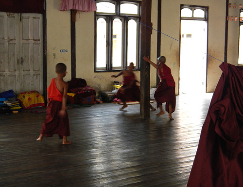 young monks running around in an Inle Lake monastery
